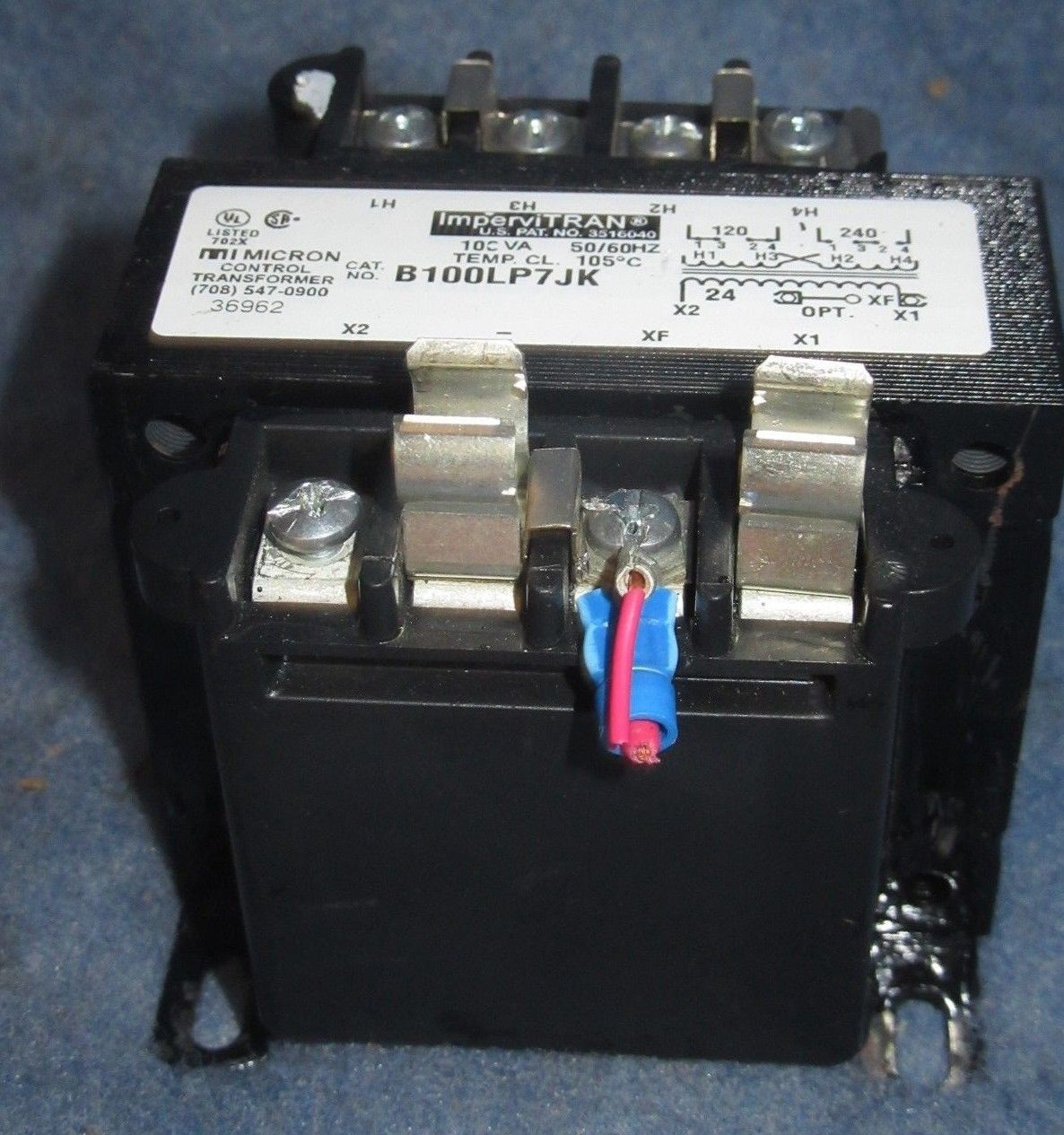 Micron IMPERVITRAN B100LP7JK Control Transformer 100va for sale online